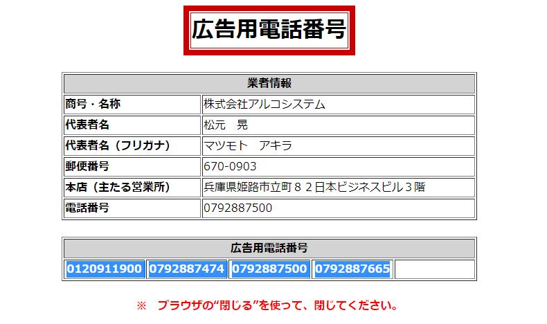 アルコシステム 登録番号